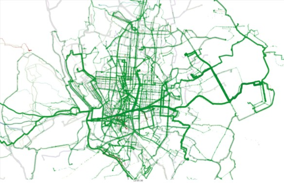 GPS bike tracks visualisation in Madrid (work in progress) - Martin Zaltz Austwick and Gustavo Romanillous